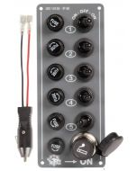 Schakelpaneel 5dlg+ plug rub/kap