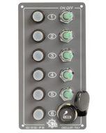 Schakelpaneel 5 dlg+12V plug Autom. spatdicht