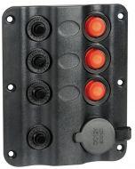 Schakelpaneel 3 delig+12V ingang Autom Zekering